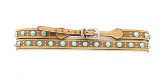 Leather w/Turquoise Studs Hat Band