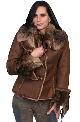 Ladies Faux Fur Trim Jacket