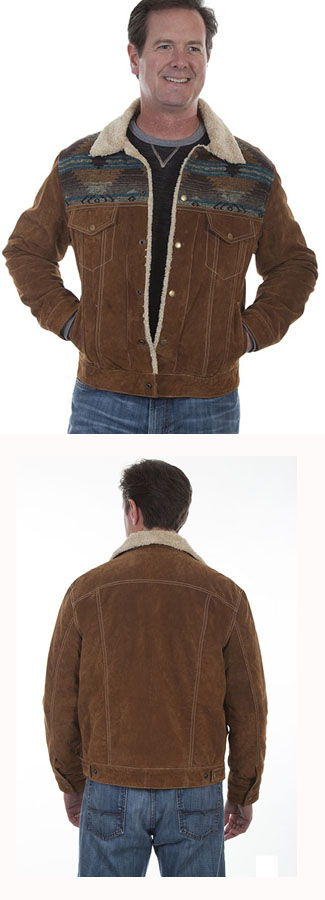 Men's Leather/ Knit Jean Jacket