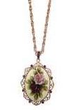 [1928 Jewelry® Amy Flower Oval Pendant Necklace]