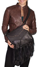[Scully Western Lifestyle  Fringed Leather Handbag]