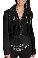[Scully Ladies Fringe/Concho Suede Jacket]