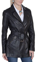 [Scully Ladies Belted Lamb Coat]