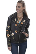 [Scully Floral Embroidered Motor Jacket]