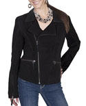[Scully  Ladies Suede Motorcycle Jacket ]