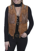 [Scully Ladies Beaded Leather Vest]