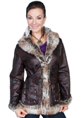 [Scully  Ladies Faux Fur Trim Jacket]