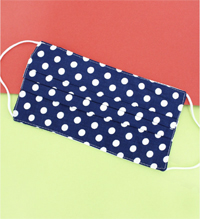 [CLOSEOUT ITEM Two-Layer Pleated Fashion Face Mask  - Navy Dot ]