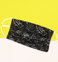 [CLOSEOUT ITEM Two-Layer Pleated Fashion Face Mask   -  Charcoal Paisley]