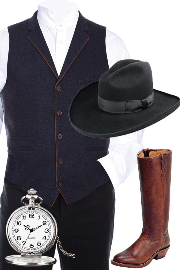 Gilmore Outfit Featuring the Deadwood Shirt and Navy Oldwest Gilmore Vest