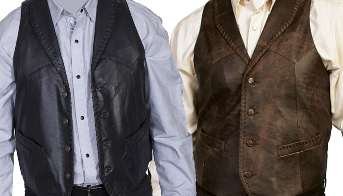 Leather Whipstitch Vest
